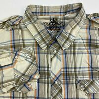 Guess Button Up Shirt Men's Size 2XL Long Sleeve Beige Gray Plaid Casual Cotton