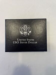 1991 U.S. USO 50TH ANNIVERSARY COMMEMORATIVE PROOF SILVER DOLLAR COIN. AF
