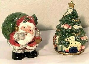 Fitz and Floyd Christmas Tree Santa salt pepper Shaker set 1992