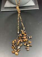 Vintage Bohemian Tigers Eye  Brown Colored seed bead Tassel Necklace X- Long