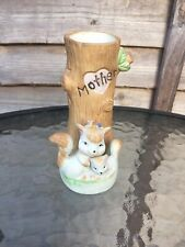 """More details for vintage enesco style ceramic """"mother"""" gift featuring squirrel & baby bud vase"""
