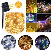 LED Solar String Lights Waterproof 10/20M Copper Wire Fairy Xmas Outdoor Garden