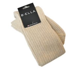 B. Ella Ladies Wool Cashmere Angora Blend OVER Knee Socks Bess Oatmeal - NEW