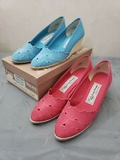 2 Pair Women's Evan Picone Pink and Turquoise Broaddclo Wedge Shoes 7½ Narrow