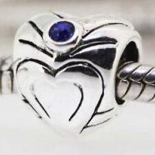 "Silver-Plate ""BLUE CRYSTAL HEART"" Threaded CHARM Bead European Bracelet Necklace"