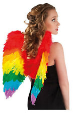 LADIES RAINBOW FEATHER WINGS FANCY DRESS BRAZIL RIO BIRD OF PARADISE COSTUME NEW