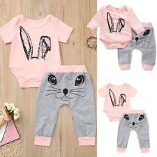 Toddler Kids Baby Girl Cartoon Rabbit Tops Print Rompers Pants Clothes Sets UK