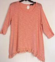 French Laundry  Knit top 2X Shark Bite Hem Crochet Detail Peach Coral
