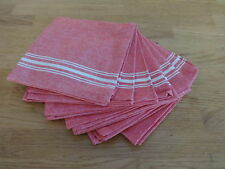 Set of 6 Classic Antique French Style Red with Cream Stripe 100% cotton napkins
