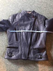 Vintage Wolf Leathers Leather Jacket Biker Blue Size 38