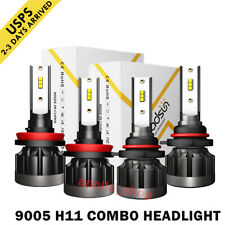 Mini Combo 9005+H11 LED Headlight Kit CSP Fog Bulbs High Low Beam 6000K 4400W PO