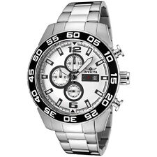 New Mens Invicta 1014 II Quartz Chrono Silver Dial Stainless Steel Watch