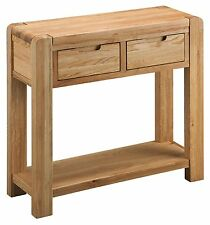 Solid Chunky Curved Oak Large Telephone Lamp Hall Console Table | Manor Range