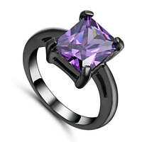 Lady's Dazzling Purple Amethyst black Rhodium Plated Fashion Cocktail Ring Size6