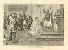 The First Communion, Fashion Fan, Catholic Priest, Vintage 1887 Antique Print