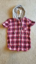 Girl's Polly & Esther Red Checkered Short Sleeve Button Up Hooded Blouse Size S