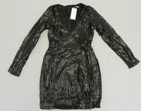 Boohoo Women's Boutique Sequin Wrap Bodycon Dress KB8 Black Size US:6 UK:10 NWT