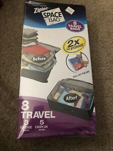 ZIPLOC Brand Space Bag 8 Travel Bags - 2 Sizes 3 Suit Case & 5 Carry-On OPEN BOX