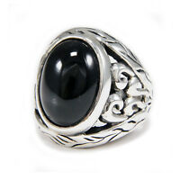 Details about  /VIKING ENGRAVING TABLE CUT ONYX 925 STERLING SILVER ROCK BIKER RING ec-r018
