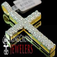 10K Gold Over Real Silver Simu Diamond Cross Pendant Prong Set Design Mens Charm