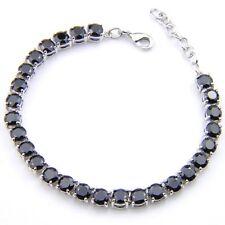 Unqiue Gift Round Cut Black Onyx Gemstone Silver Charming Bracelets 8 Inch