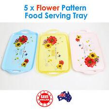 5x Flower Pattern Food Serving Tray Sandwich Drink Coffee Plastic Handle Pastora