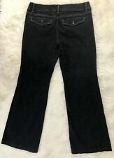 White House Black Market Noir Black Trouser Leg Flap Pocket Jeans Womens Sz 8 S