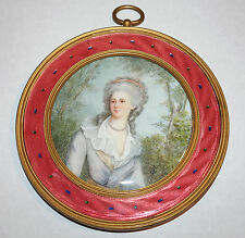 French Pink Guilloche Enamel Gilt Bronze Frame & Painted Plaque of Lady 1880s