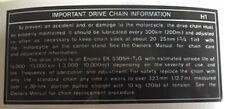 KAWASAKI H1D 500 H1E 500 H1F 500 KH IMPORTANT DRIVE CHAIN CAUTION WARNING DECAL