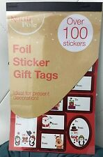 2 X  Over 100 CHRISTMAS STICKER GIFT TAGS RED FOIL LABELS XMAS PRESENT ONY £3.29