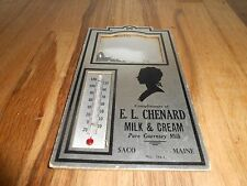 Vintage El Chenard Guernsey Dairy Milk Saco Maine Advertising Sign Thermometer
