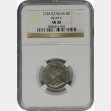 1926 Canada 5 Cents Near 6 NGC AU 58