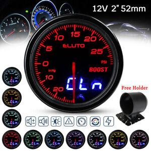 """2"""" 52mm White Digital LED Turbo Boost Warning Vacumn Gauge Meter PSI Pressure"""
