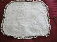 "Square Fabric Doily Hand Crocheted Edging White 17"" x 17.5"""