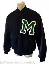 VINTAGE USA letterman Jacket BLACK m patch XL football new holloway leather wool