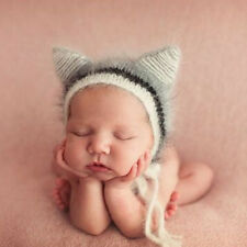 Baby Newborn Ox Horn Ear Hat Baby Knit Soft Mohair Caps Photography Props