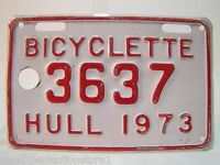 1973 BICYCLETTE 3637 HULL Bicycle License Plate embossed red white