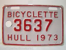 Vtg 1973 BICYCLETTE 3637 HULL Bicycle License Plate embossed red white