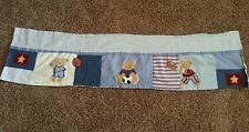 Kidsline Bear Sports Window Valance Football Soccer Basketball Star Denim Blue