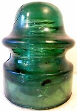 Antique Glass Insulator Star Yellow Green CD164 Black Carbon Junk Rocks Flaws