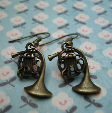 FUNKY BRASS FRENCH HORN EARRINGS CUTE KITSCH RETRO MUSIC VINTAGE INSTRUMENT FUN