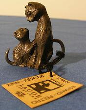 Etain Michel Laude chatte et son chaton objet de vitrine 95-5