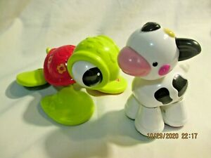 """Fisher-Price Clicker Toys Turtle 5"""" Calf 4"""" Amazing Animals Lot of 2"""