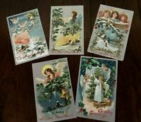 Lot of 5 ~Pretty Angels~Antique ~Tuck ~Christmas Postcards-a943
