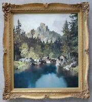 ERICH PAULSEN Original Oil Painting Mountain Forest Landscape Vintage Gilt Frame