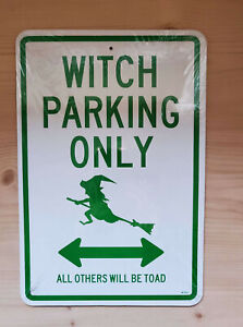 WITCH PARKING ONLY - NO PARKING BROOM LANE - HALLOWEEN SIGN DECOR WICCA PAGAN