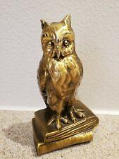 Vtg Brass Owl On Books Figurine Paperweight - Pm Craftsman?