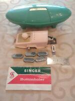 Vintage Singer Sewing Machine Buttonholer Jadite Green Oval Case Manual 489500