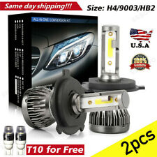 Pair H4/9003/HB2 COB LED Headlight 72W 9000LM High Power 6000K Super Bright HID