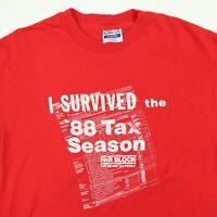 Vtg 80s I Survived Tax Season T-Shirt LARGE H&R Block CPA Accountant Funny Hanes
